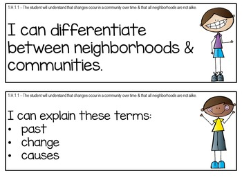 """North Carolina First Grade """"I Can"""" Posters for Social Studies Ess. Standards"""