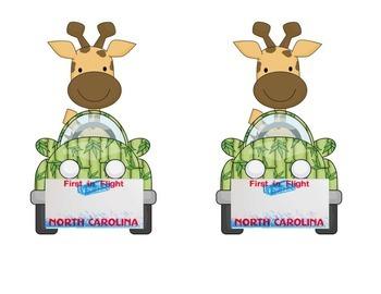 North Carolina Giraffe in a Car Name Tag