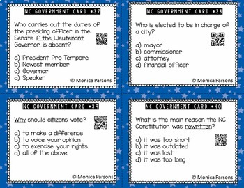 North Carolina Government Task Cards