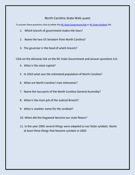 North Carolina Government and State Symbols Webquest