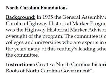 North Carolina Historical Markers