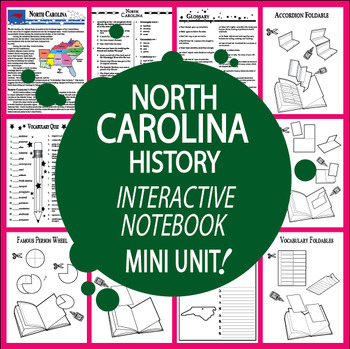 North Carolina History–Interactive North Carolina State Study Unit + AUDIO!