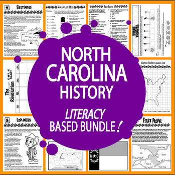 North Carolina History Bundle of 9 COMPLETE Lessons