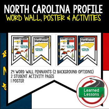 North Carolina History Word Wall, State Profile, Activity Pages