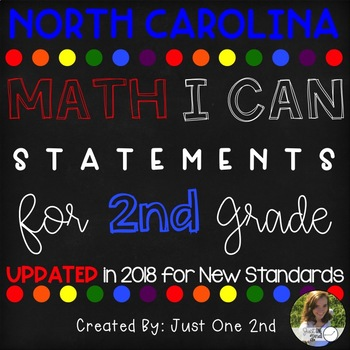 North Carolina MATH I Can Statements for 2nd Grade {{UPDATED FOR NEW STANDARDS}}