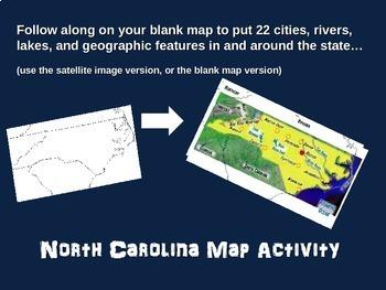 North Carolina Map Activity- fun, engaging, follow-along 18-slide PPT