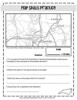 North Carolina Map Skills Practice