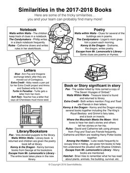 North Carolina  (NC)  Elementary Battle of the Books 2017-2018 Extras