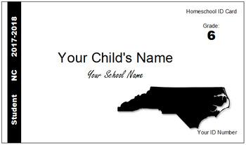 North Carolina (NC) Homeschool ID Cards for Teachers and Students