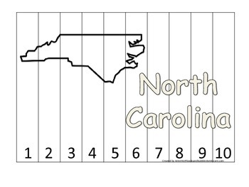 North Carolina Number Sequence Puzzle.  Learn the States preschool printable gam