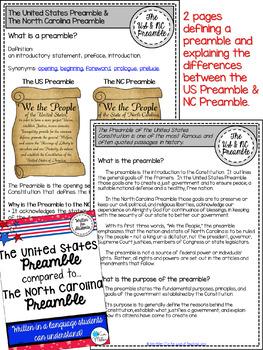 The United States Preamble Compared to The North Carolina Preamble