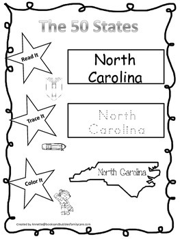 North Carolina Read it, Trace it, Color it Learn the States preschool worksheeet
