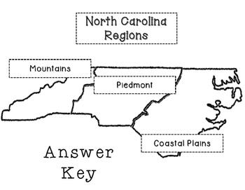 North Carolina Regions- Cut and Paste Activity