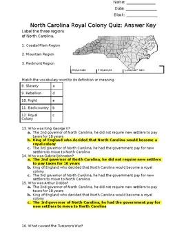North Carolina Royal Colony and Exploration Review Quiz