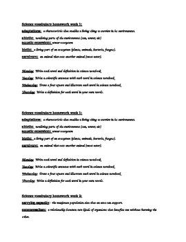 North Carolina Science Vocabulary Homework-Ecosystems