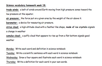 North Carolina Science Vocabulary Homework-Weather