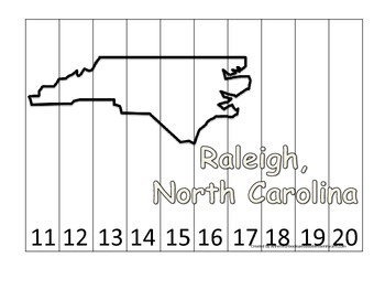 North Carolina State Capitol Number Sequence Puzzle 11-20.  Geography and Number