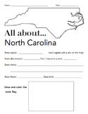 North Carolina State Facts Worksheet: Elementary Version