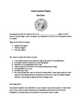 North Carolina State History Project - Plan an Imaginary Trip 3rd/4th Grade