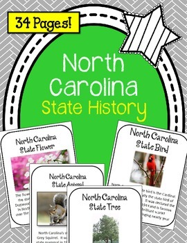 North Carolina State History Unit. 34 Pages! US History