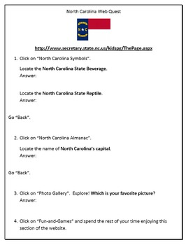 North Carolina State History Webquest - Great for 3rd & 4th Grade
