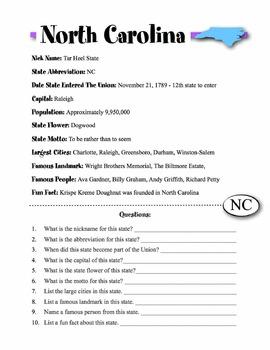 North Carolina State Information & Worksheet