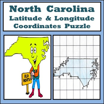 North Carolina State Latitude and Longitude Coordinates Puzzle - 50 Pts. to Plot