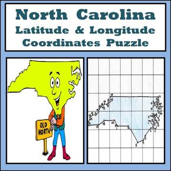 North Carolina State Latitude and Longitude Coordinates Pu