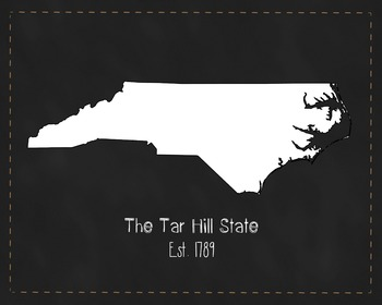 North Carolina State Map Class Decor, Government, Geography, Black and White