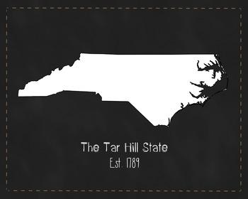 North Carolina State Map Class Decor, Government, Geograph