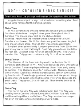 North Carolina State Symbols Reading Passage