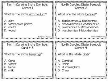 North Carolina State Symbols Task Cards