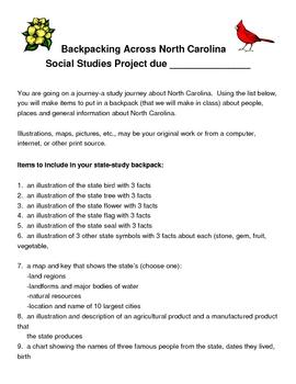 North Carolina State Symbols and Landmark Project-Backpack Across NC