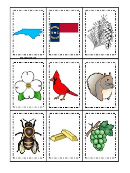 North Carolina State Symbols Themed Memory Match Preschool Card Game