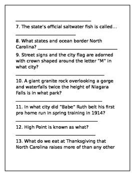 North Carolina Trivia Quiz
