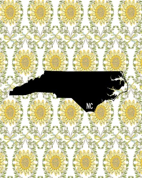 North Carolina Vintage State Map or Poster Class Decor Decoration