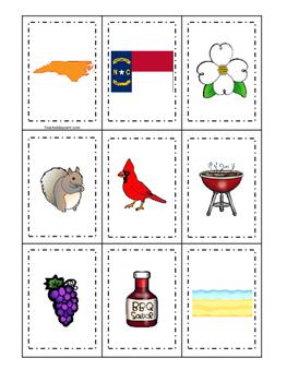 North Carolina themed Memory Matching and Word Matching preschool game