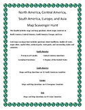 North, Central, and South America, Europe, and Asia Map Scavenger Hunt