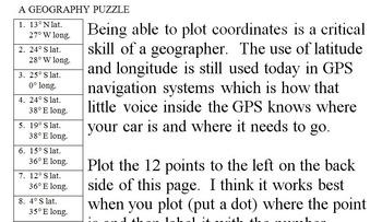 North Dakota Latitude and Longitude Coordinates Puzzle - 12 Pts. to Plot - FREE!