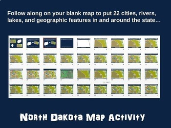 North Dakota Map Activity- fun, engaging, follow-along 20-slide PPT
