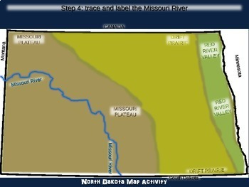 North Dakota Map Activity- fun, engaging, follow-along 20-slide PPT