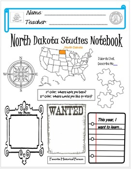 North Dakota Notebook Cover