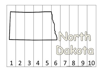 North Dakota Number Sequence Puzzle.  Learn the States preschool printable gam
