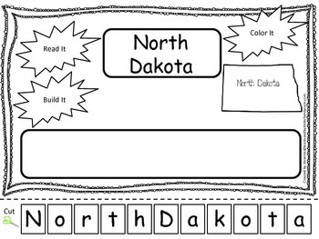 North Dakota Read it, Build it, Color it Learn the States preschool worksheet.