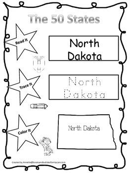 North Dakota Read it, Trace it, Color it Learn the States preschool worksheeet