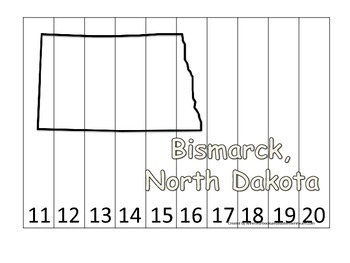 North Dakota State Capitol Number Sequence Puzzle 11-20.  Geography and Numbers.