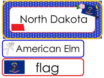 North Dakota State Word Wall Bulletin Board Set. Geography Curriculum.