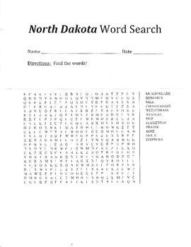 North Dakota Word Search