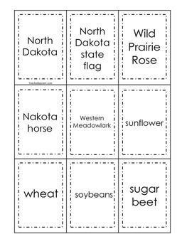 North Dakota themed Memory Matching and Word Matching preschool game