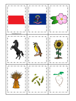 North Dakota themed Memory Matching and Word Matching pres